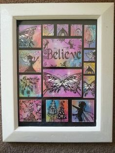 Stampbord with mainly lavinia stamps in a upcycled frame.