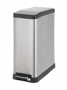 The sleek, rectangular design of the Testrite Stainless Steel Step Trash Bin is perfect for keeping today& home tidy. It features a convenient stay-open, silent-close lid for hands-free use and durable steel construction for years of service. Trash And Recycling Bin, Trash Bins, Stainless Steel Screws, Brushed Stainless Steel, Plastic Pail, Trash Day, Kitchen Trash Cans, Waste Container, Garbage Can