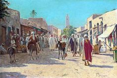... A busy market in Cairo Alexis Auguste Delahogue - French ,1867-1930