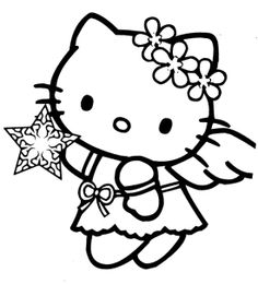 Hello Kitty Christmas Angel Coloring Page