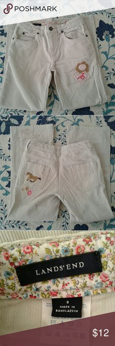 Land's End girl Horse corduroy pants size 8 Land's End girl's size 8 ivory 100% cotton orduroy pants embellished with pink and brown horses. Worn once and look like new. Super cute. Adjustable waist. Land's End Bottoms Casual