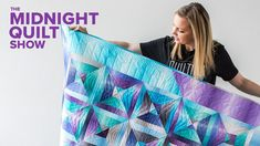 """Split Square"" QST Strip Quilt with RULER QUILTING 