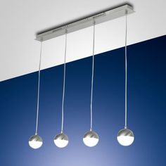 3262-49-178 Melville LED 4 Light Pendant - Height adjustable pendant with a satin nickel finish and four hanging lights, lights have dimmable L