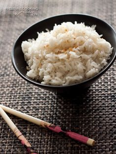 Coconut rice has a slightly sweet, mild coconut flavor. It's a perfect addition to your favorite Thai, Chinese, or Hawaiian dishes. Traditionally made with jasmine rice and coconut milk, it cooks in only 3 minutes in the pressure cooker.