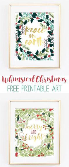 christmas printable art   christmas printables   free holiday printables   free christmas printables   christmas art   merry and bright   peace on earth