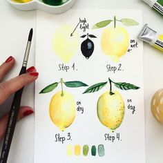 Sorry I reposted this one a few times but I have added each step zoomed swipe fo… Sorry I reposted this one a few times but I have added each step zoomed swipe for more shots I am happy to share with you what I… Watercolor Fruit, Watercolor Tips, Watercolour Tutorials, Watercolor Techniques, Watercolour Painting, Art Techniques, Painting & Drawing, Watercolors, Lemon Painting