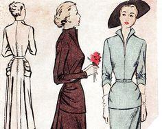 1940er Jahre 40er Jahre Vintage Schnittmuster Hochzeit Kleid