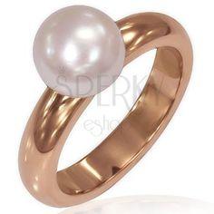 Dámsky prsteň z ocele - ružovozlatá farba, perla