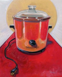 """St. Crock Pot in Orange is an 11"""" x 14"""" oil #painting featuring a #vintage #CrockPot (circa 1970s) struts it's stuff on the #redcarpet, wearing the color flame. One of my Kitchen Gods, the crock pot is sainted with a halo. Painted in oil on a cradled wood panel, ready for hanging. #TraillWorks"""