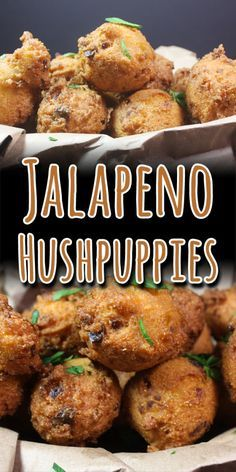 Jalapeno Hushpuppies - These spicy little fried nuggets of cornmeal are the perfect companion to any fried fish! You are in the right place about frying fish salmon Here we offer you the most beautifu Seafood Recipes, Mexican Food Recipes, Appetizer Recipes, Cooking Recipes, Fried Fish Recipes, Hush Puppies Rezept, Homemade Hushpuppies, Fish Fry Party, Great Recipes