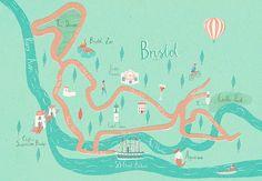 Illustrated Bristol Map Giclée Print by Naomi Wilkinson at The Bristol Shop Bristol Map, Naomi Wilkinson, Map Design, City Maps, Border Print, Illustrations Posters, Giclee Print, Illustration Art, Etsy