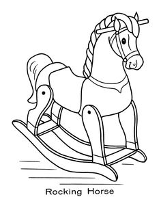 toy animal coloring page rocking horse