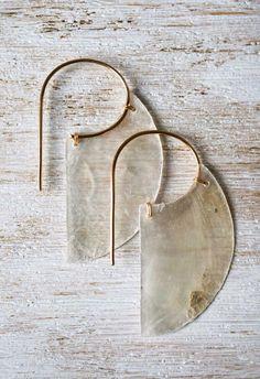 Vividance Crescent Capiz Shell & Wire Earrings by BraveChickJewelry on Etsy www…. Vividance Crescent Capiz Shell & Wire Earrings by Jewelry Box, Jewelry Accessories, Jewelry Making, Jewelry Trends, Jewelry Stores, Silver Jewelry, Diamond Jewelry, Jewelry Necklaces, Diy Jewelry