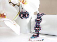 ARTonia,biloba bijoux,swarovski jewelry,beadwork,beaded bijoux set,swarovski navette,beaded bracelet and earrings, bracelet perles