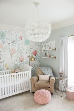 baby nursery decor, nursery design ideas with modern crib, kid room decor ideas with glider and wallpaper and book ledges and flower chandelier, girl nursery