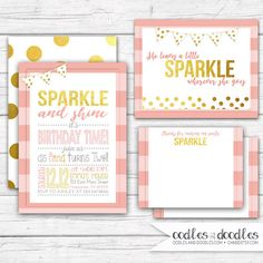 SPARKLE & SHINE... its birthday time! This pink and gold printable party package is perfect for that little girl that leaves a little sparkle wherever she
