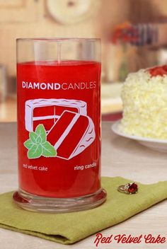 Red Velvet Cake: Indulge in sweet aroma of a bakery fresh red velvet cake. Your sweetheart will adore you when surprised with this treat. | Ring Candle by Diamond Candles