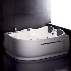We are very excited to offer you this popular corner whirlpool bathtub for two persons. AM124-L EAGO whirlpool bath tub! Filled with cool gadgets and effects like the built in stereo and bottom jets.