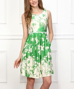 Reborn Collection Green Floral Sleeveless Dress - Women by Reborn Collection #zulily #zulilyfinds