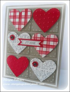 Carte de St-Valentin make for Rick with Kraft Valentine Love Cards, Valentine Crafts, Heart Cards, Card Tags, Creative Cards, Cute Cards, Anniversary Cards, Greeting Cards Handmade, Scrapbook Cards
