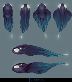new spices, with glowing eyes and a glowing tail. easy to tell that comes from the deep sea, but almost have the same body Structure as a frog. Monster Concept Art, Alien Concept Art, Creature Concept Art, Fantasy Monster, Creature Design, Mythical Creatures Art, Alien Creatures, Mythological Creatures, Cute Creatures