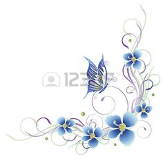 Colorful summer tendril with butterfly, pastel photo Tribal Tattoos, Tatoos, Flower Background Design, Romanian Lace, Pastel, Black Flowers, Floral Border, Flower Backgrounds, Border Design