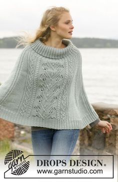 Knitted DROPS poncho with cables and leaf pattern in Karisma. Size: S - XXXL. Free pattern by DROPS Design.