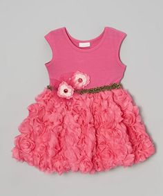 Take a look at this Hot Pink Rosette A-Line Dress - Toddler & Girls by cachcach on #zulily today!