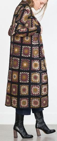 GRANNY SQUARE JACKET Crochet Coat Patchwork Plaid | Etsy Crochet Skirt Pattern, Crochet Coat, Crochet Jacket, Crochet Granny, Granny Square Scarf, Granny Squares, Square Skirt, Hippie Tops, Coat Patterns