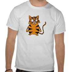 Funky Angry Tiger Cat Cartoon T Shirts #cats #funny #shirts #pets #animals #funky #zazzle #petspower