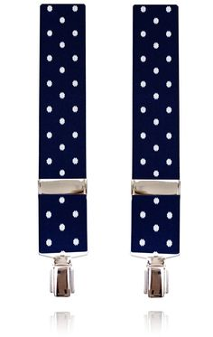 Navy Blue with Large White Polka Dot Suspenders