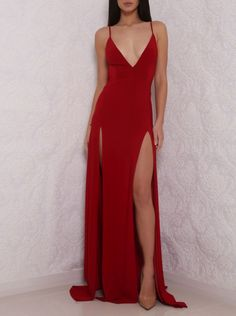 Hot Sexy V-Neck Spaghetti Straps Split-Front Red Long Prom Dress with Backless
