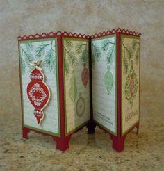 Handmade-Christmas-Ornament-screen-divider-Card-kit-4-cards-Stampin-UP