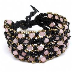 Kimbrellyn's Boho Style Pink & Black Beaded Cord Bracelet — Fantasy Jewelry Box