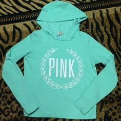 Vs  light mint teal hoodie   Victoria's Secret light mint teal pullover hoodie. Good condition! No flaws! PINK Victoria's Secret Tops Sweatshirts & Hoodies