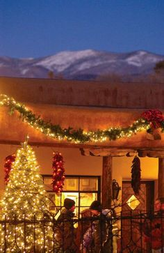 """Beautiful! Holidays in Santa Fe.  And there's the """"horse"""" on the mountain!"""