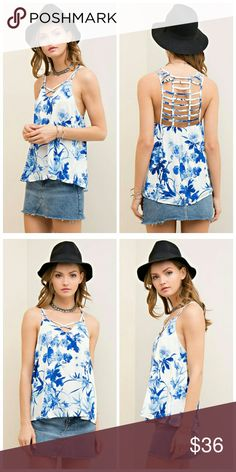 Blue Lovers Floral Print Tank Floral Print Tank featuring strappy detail neckline. Non adjustable straps. Slightly sheer. Woven. Lightweight.   100% Rayon Tops Tank Tops
