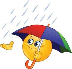 Emoticon holding an umbrella stock vector