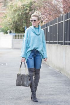 Think Spring: oversized turquoise turtleneck, Paige Denim distressed skinny jeans, Stuart Weitzman 'Highland' gray over the knee boots, Brahmin 'Corington' tote, blue sweater spring outfit