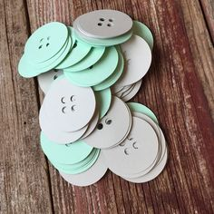 Paper Confetti, Button Die Cut, Button Confetti, Mint and Gray, Cute as a Button… Baby Shower Host, Grey Baby Shower, Baby Shower Gender Reveal, Shower Party, Baby Shower Games, Baby Showers, Paper Party Decorations, Baby Shower Decorations, Kate Baby