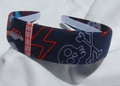 Rock And Roll Girl Headband by shirkdesigns on Etsy (Accessories, Hair Accessories, Headbands, cherry, rockabilly, rock, rockabilly headband, rock headband, guitar, music heaband, lightning bolt, lightning, navy blue, rock and roll, guitar headband)