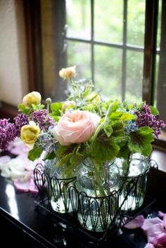 Fresh-Garden-Flower-Mason-Jar-Centerpiece. Close to your palette. Do you like the blush pink?