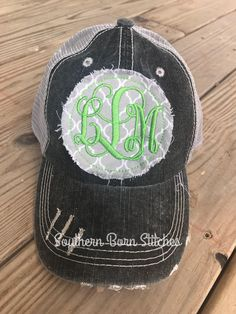 54809d826a1 Items similar to Womens Monogrammed distressed trucker hat initials with  stitching womens personalized cap raggy patch ladies baseball hat on Etsy
