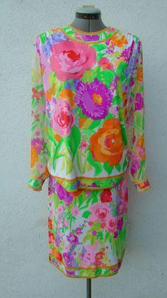 Vintage 90s LEONARD PARIS Spring Floral Silk Pencil Skirt Blouse Suit Dress 40 #Leonard #SkirtSuit