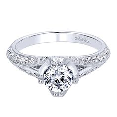 14k White Gold Contemporary Style  Straight Engagement Ring