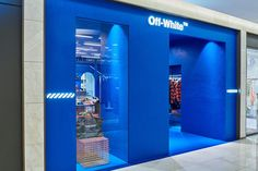 An exclusive look inside off-white™'s new korean outposts modern shop, Shoe Store Design, Retail Store Design, Retail Shop, Retail Interior, Cafe Interior, Visual Merchandising, Off White Store, Hypebeast, Retail Facade