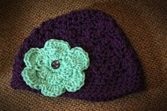 Purple Baby Hat with Teal Flower / Baby Girl / 03 by MeganFallow, $18.00