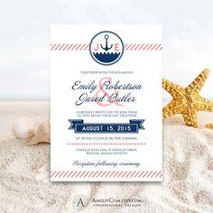 Printable Nautical Invitations Navy & Coral Ocean Summer Wedding Invite EDITABLE Sea Seaside / Beach Cards Template Diy INSTANT DOWNLOAD
