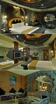 A Batman-themed room at the Eden Hotel, Kaohsiung City, Taiwan. Rents by the hour.