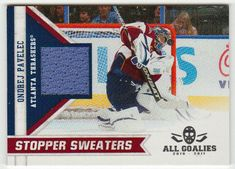 Ondrej Pavelec # 13 - Stopper Sweaters - 2010-11 Panini All Goalies - NHL Jersey Card